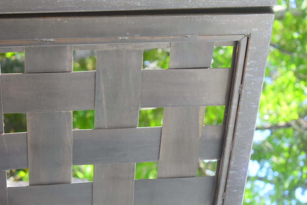 Lattice-weave privacy gate, slate gray patina