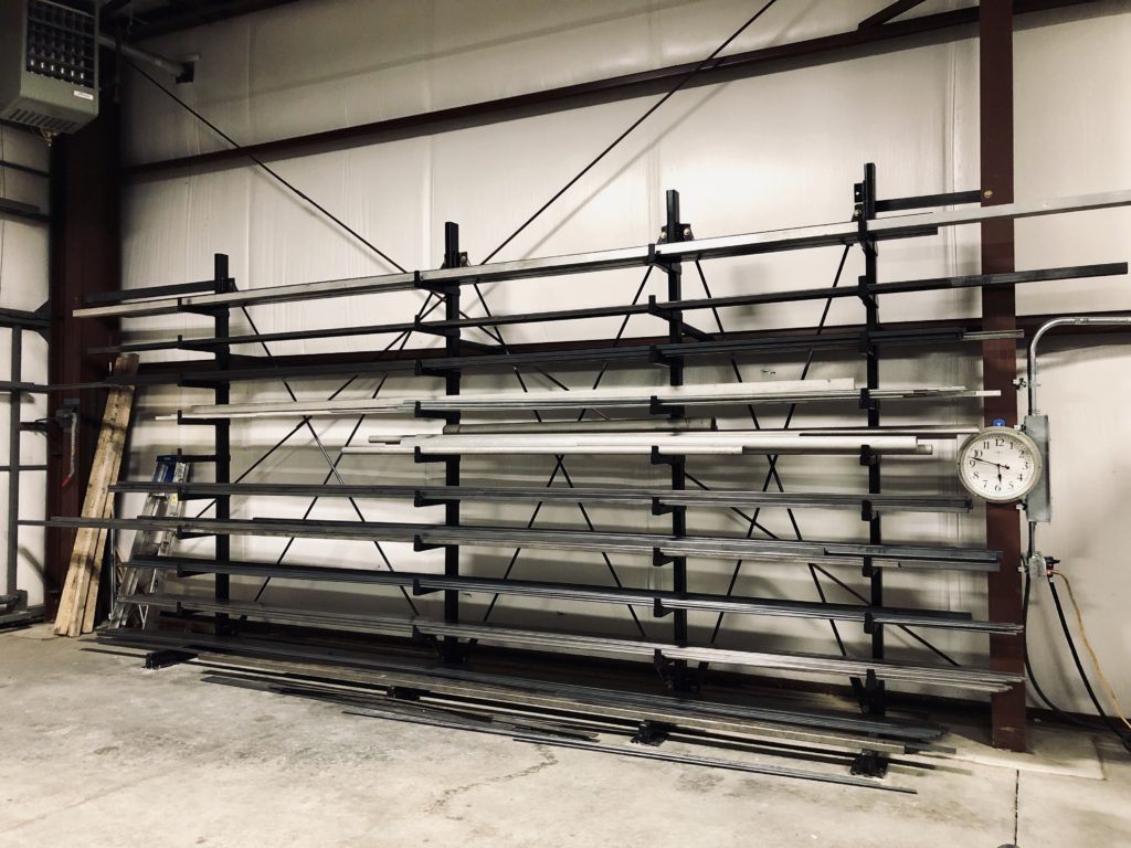 After moving into our new shop space the first thing that got built was the metal rack. Had to have a place to put everything!