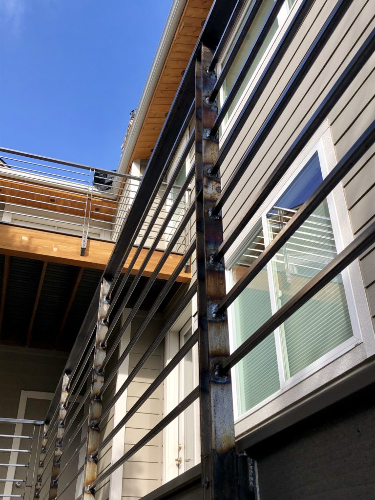 Close-up of welded section of South Boulder outdoor deck.