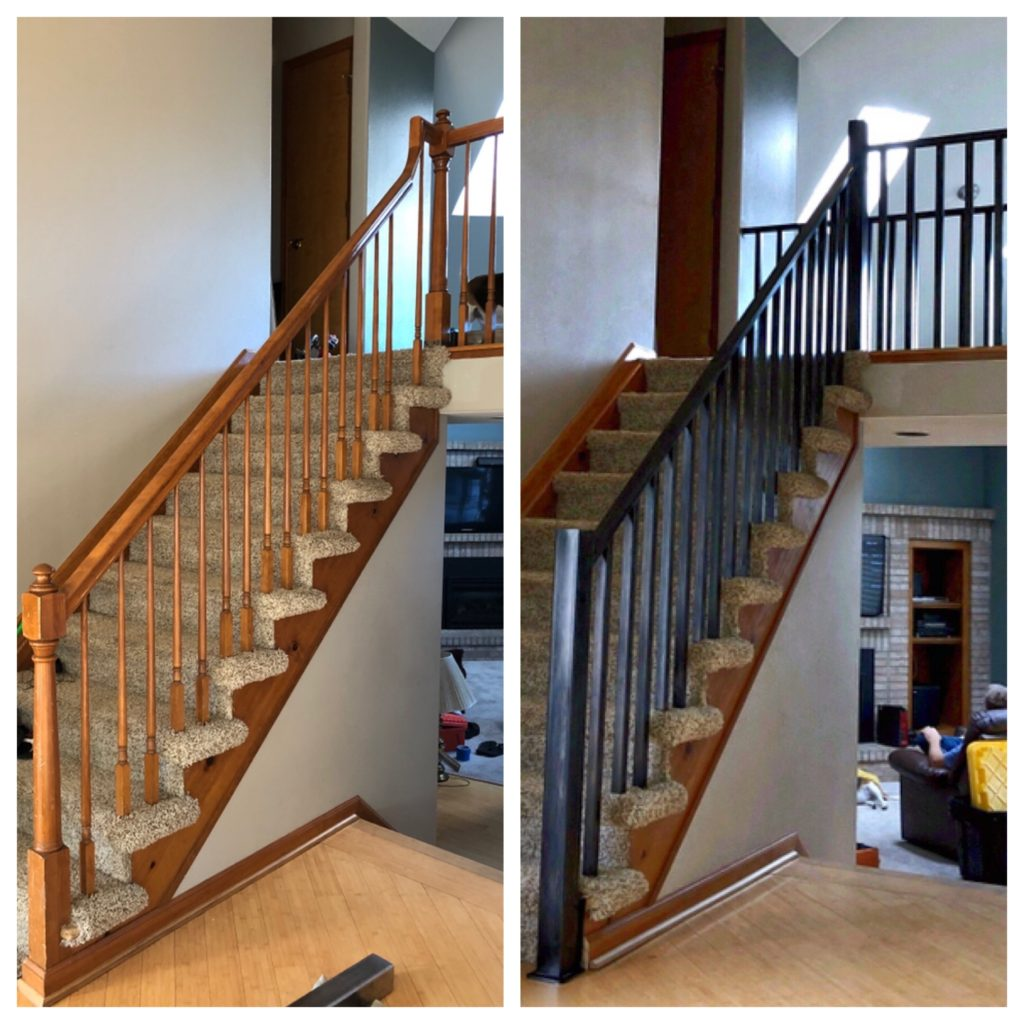 Before/After photos of interior railing